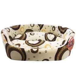 Pet Pretty - Pet Pretty Yuvarlak Krem Kumaş Kedi ve Küçük Irk Köpek Yatağı No:1