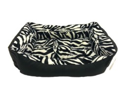 Pet Pretty - Pet Pretty Zebra Desenli Deri Yatak No: 2