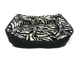 Pet Pretty - Pet Pretty Zebra Desenli Deri Yatak No:4 (80x65x20 Cm)