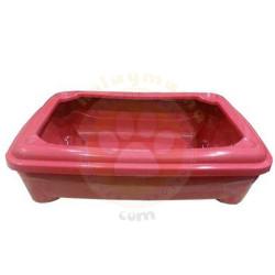 Pet Style - Pet Style Plastik Kırmızı Açık Kedi Tuvalet Kabı 48 Cm