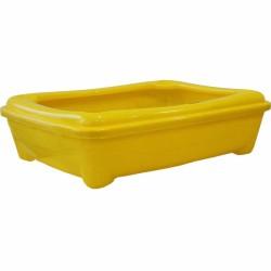 Pet Style - Pet Style Plastik Sarı Açık Kedi Tuvalet Kabı 48 Cm