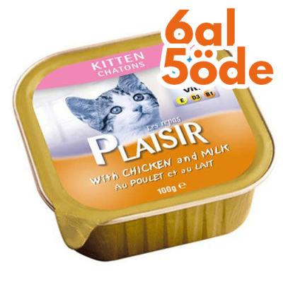 Plaisir Kitten Tavuk ve Sütlü Pate Yavru Kedi Yaş Maması 100 Gr-6 Al 5 Öde