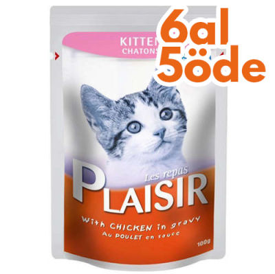 Plaisir Pouch Kitten Soslu Tavuk Parçalı Yavru Kedi Yaş Maması 100 Gr-6 Al 5 Öde