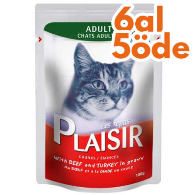Plaisir Pouch Soslu Sığır ve Hindi Etli Parçalı Kedi Yaş Maması 100 Gr-6 Al 5 Öde