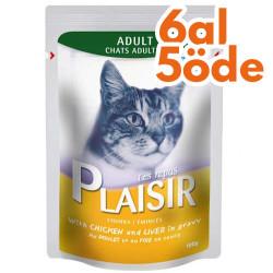 Plaisir - Plaisir Pouch Soslu Tavuk Eti ve Ciğer Parçalı Kedi Yaş Maması 100 Gr-6 Al 5 Öde