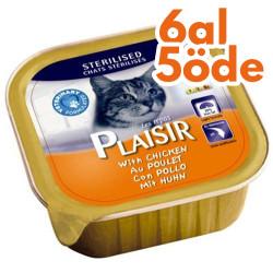 Plaisir - Plaisir Sterilised Tavuk Pate Kısırlaştırılmış Kedi Yaş Maması 100 Gr-6 Al 5 Öde