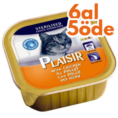 Plaisir Sterilised Tavuk Pate Kısırlaştırılmış Kedi Yaş Maması 100 Gr-6 Al 5 Öde