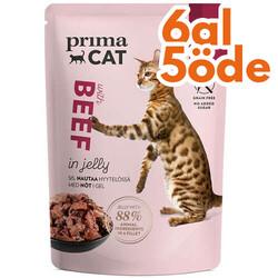 Prima Cat - PrimaCat Classic Pouch Jöle İçinde Dana Etli Tahılsız Kedi Yaş Maması 85 Gr - 6 Al 5 Öde