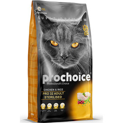 Pro Choice - Pro Choice Pro32 Kısırlaştırılmış Kedi Maması 15 Kg+10 Adet Temizlik Mendili