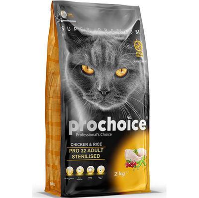 Pro Choice Pro32 Kısırlaştırılmış Tavuklu Kedi Maması 2 Kg + 2 Adet Temizlik Mendili