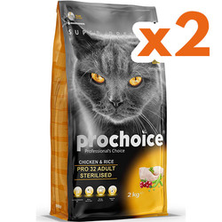 Pro Choice - Pro Choice Pro32 Sterilised Kısırlaştırılmış Tavuklu Kedi Maması 2 Kgx2 Adet