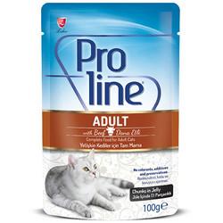 ProLine - Proline Dana Etli Jöle İçinde Et Parçalı Kedi Yaş Maması 100 Gr