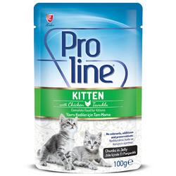 ProLine - Proline Kitten Tavuk Etli Jöle İçinde Et Parçalı Yavru Kedi Yaş Maması 100 Gr