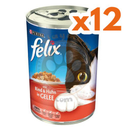 Felix - Purina Felix Sığır Etli ve Tavuklu Kedi Konservesi 400 Gr - (12 Adet x 400 Gr)