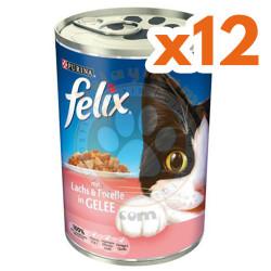 Felix - Purina Felix Somon ve Alabalıklı Kedi Konservesi 400 Gr-(12 Adetx400 Gr)