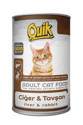 Quik - Quik Adult Ciğerli ve Tavşanlı Yetişkin Kedi Konservesi 415 Gr