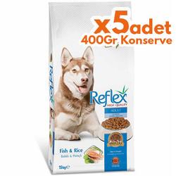 Reflex - Reflex Balıklı Yetişkin Köpek Maması 15 Kg+5 Adet 400 Gr Yaş Mama