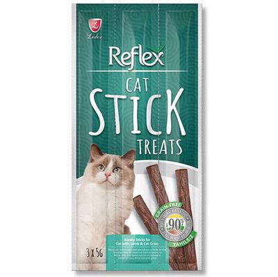 Reflex Cat Stick Kuzu Etli ve Kedi Otlu Tahılsız Kedi Ödül Çubukları 5 Gr x 3 Stick