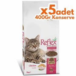 Reflex - Reflex Chicken Tavuk Etli Kedi Maması 15 Kg+5 Adet 400 Gr Konserve