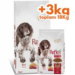 Reflex - Reflex High Energy Biftekli Köpek Maması 15 Kg+3 Kg (Toplam 18 Kg)