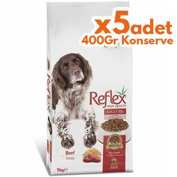 Reflex - Reflex High Energy Biftekli Köpek Maması 15 Kg + 5 Adet 400 Gr Yaş Mama