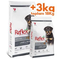 Reflex - Reflex Kuzu Etli Yavru Köpek Maması 15 Kg + 3 Kg (Toplam 18 Kg)