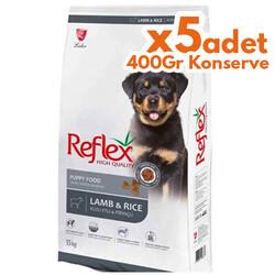 Reflex - Reflex Kuzu Etli Yavru Köpek Maması 15 Kg + 5 Adet 400 Gr Yaş Mama