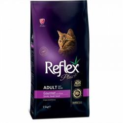 Reflex - Reflex Plus Gourmet Tavuk Renkli Kedi Maması 15 Kg + 10 Adet Temizlik Mendili
