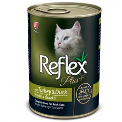 Reflex - Reflex Plus Jelly Hindi ve Ördek Etli Jöleli Kedi Konservesi 400 Gr