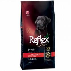 Reflex - Reflex Plus Kuzu Orta ve Büyük Irk Köpek Maması 15 Kg + 10 Adet Temizlik Mendili