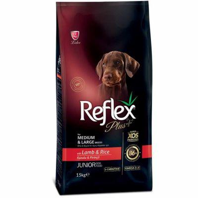 Reflex Plus Kuzu Orta/Büyük Irk Yavru Köpek Maması 15 Kg+10 Adet Temizlik Mendili