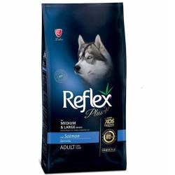 Reflex - Reflex Plus Somonlu Orta ve Büyük Irk Köpek Maması 3 Kg+5 Adet Temizlik Mendili