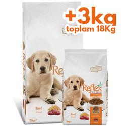 Reflex - Reflex Puppy Biftekli Yavru Köpek Maması 15 Kg + 3 Kg (Toplam 18 Kg)