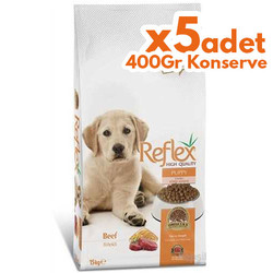 Reflex - Reflex Puppy Biftekli Yavru Köpek Maması 15 Kg + 5 Adet 400 Gr Yaş Mama