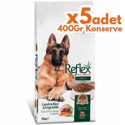 Reflex - Reflex Vegetable Kuzu Sebzeli Köpek Maması 15 Kg+5 Adet 400 Gr Yaş Mama