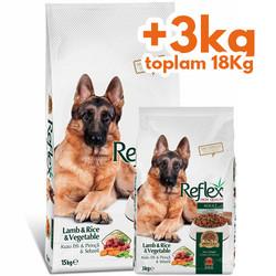Reflex - Reflex Vegetable Kuzu ve Sebze Köpek Maması 15 Kg+3 Kg (Toplam 18 Kg)