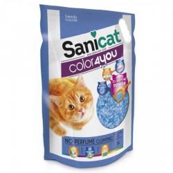 SaniCat - Sanicat Color Blue Parfümsüz Topaklanan Silika Kedi Kumu 5 Lt