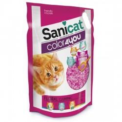 SaniCat - Sanicat Color Pink Floral Çiçek Parfümlü Topaklanan Silika Kedi Kumu 5 Lt