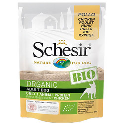 Schesir - Schesir C7420 Bio Organic Pouch Adult Tavuklu Köpek Yaş Maması 85 Gr