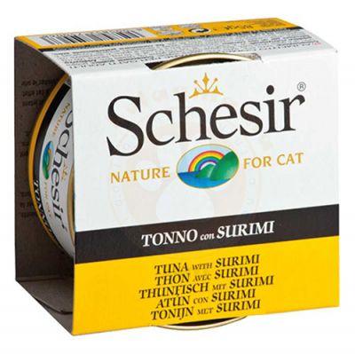 Schesir C136 Ton Balıklı ve Yengeç Etli Jöleli Kedi Konservesi 85 Gr