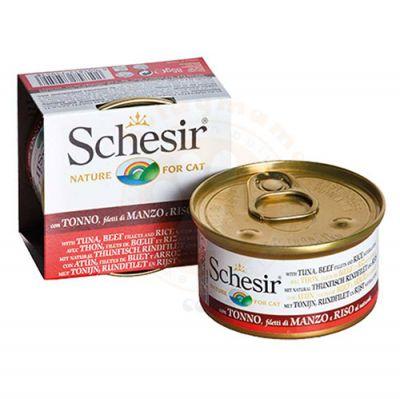Schesir C176 Ton Balıklı Sığır Etli Pirinçli Kedi Konservesi 85 Gr