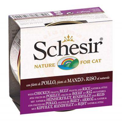 Schesir C179 Doğal Tavuk Sığır Eti ve Pirinçli Kedi Konservesi 85 Gr