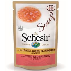 Schesir - Schesir C678 Soup Pouch Kırmızı Somon ve Havuç Kedi Çorbası 85 Gr