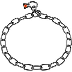 Sprenger - Sprenger Kürk Koruyucu Paslanmaz Çelik Siyah 3mm/44cm Köpek Tasma, Orta Boy Bakla