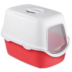 Stefanplast - Stefanplast 98615 Cathy Kırmızı Kapalı Filtresiz Kedi Tuvaleti 56x40x40 Cm