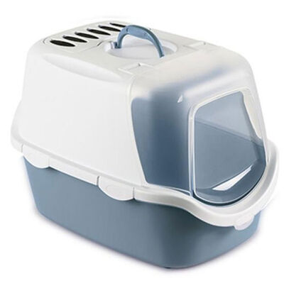 Stefanplast 98649 Cathy Easy Clean Kapalı Filtreli Kedi Tuvaleti - ( Çelik Mavi )