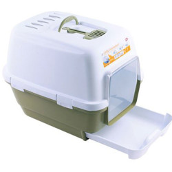 Stefanplast - Stefanplast Cathy Clever Çekmeceli Kapalı Kedi Tuvaleti Petrol Yeşili