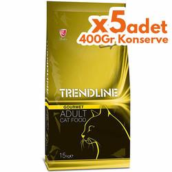 Trendline - Trendline Gourmet Multi Color Renkli Kedi Maması 15 Kg + 5 Adet 400 Gr Konserve