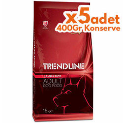 Trendline - Trendline Kuzu Etli Yetişkin Köpek Maması 15 Kg + 5 Adet 400 Gr Konserve