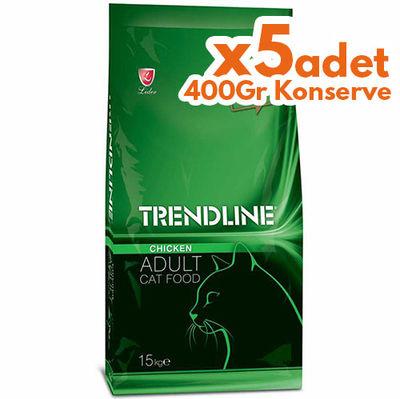 Trendline Tavuklu Yetişkin Kedi Maması 15 Kg + 5 Adet 400 Gr Yaş Mama